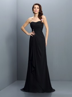 Trumpet/Mermaid Strapless Pleats Sleeveless Sweep/Brush Train Chiffon Bridesmaid Dresses