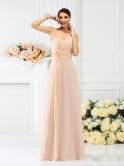 A-Line/Princess One-Shoulder Pleats Sleeveless Floor-Length Chiffon Bridesmaid Dresses