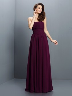 A-Line/Princess Strapless Pleats Sleeveless Floor-Length Chiffon Bridesmaid Dresses