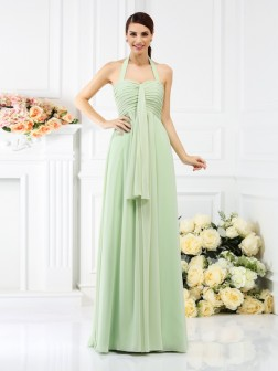 A-Line/Princess Halter Pleats Sleeveless Floor-Length Chiffon Bridesmaid Dresses