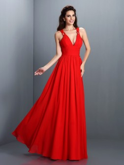 A-Line/Princess V-neck Pleats Sleeveless Floor-Length Chiffon Dresses