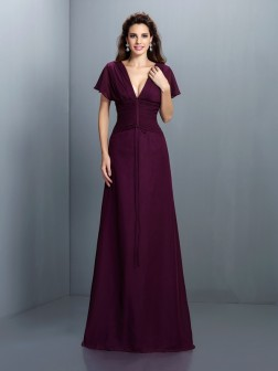 A-Line/Princess V-neck Ruched Short Sleeves Floor-Length Chiffon Dresses