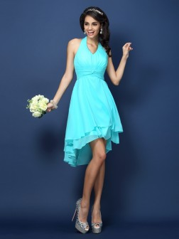 A-Line/Princess Halter Pleats Sleeveless Short/Mini Chiffon Bridesmaid Dresses