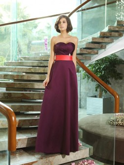 A-Line/Princess Sweetheart Sleeveless Floor-Length Satin Bridesmaid Dresses
