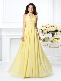 A-Line/Princess Halter Pleats Sleeveless Floor-Length Chiffon Dresses