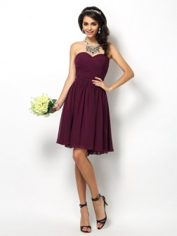 A-Line/Princess Sweetheart Pleats Sleeveless Short/Mini Chiffon Bridesmaid Dresses