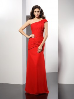 Sheath/Column One-Shoulder Pleats Sleeveless Floor-Length Chiffon Dresses