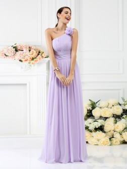 A-Line/Princess One-Shoulder Pleats Hand-Made Flower Sleeveless Floor-Length Chiffon Bridesmaid Dresses