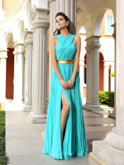 A-Line/Princess Pleats Sleeveless Floor-Length Chiffon Dresses
