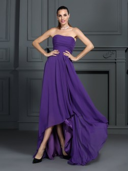 A-Line/Princess Strapless Pleats Sleeveless Asymmetrical Chiffon Cocktail Dresses