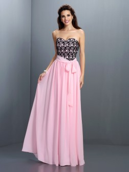 A-Line/Princess Sweetheart Lace Sleeveless Floor-Length Chiffon Dresses