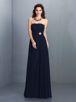 A-Line/Princess Strapless Rhinestone Sleeveless Floor-Length Chiffon Bridesmaid Dresses