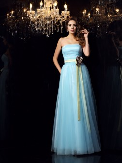 Ball Gown Strapless Sash/Ribbon/Belt Sleeveless Floor-Length Satin Dresses