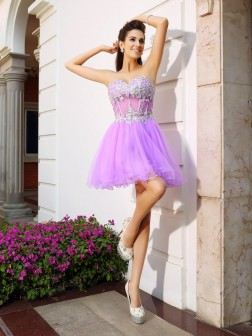 A-Line/Princess Sweetheart Beading Applique Sleeveless Short/Mini Organza Cocktail Dresses