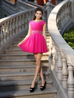 A-Line/Princess Scoop Beading Sleeveless Short/Mini Chiffon Cocktail Dresses