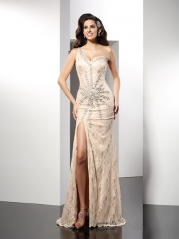 Sheath/Column One-Shoulder Sleeveless Sweep/Brush Train Elastic Woven Satin Dresses