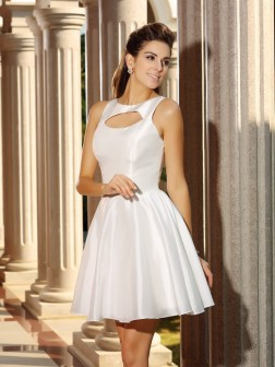 A-Line/Princess High Neck Sleeveless Short/Mini Satin Cocktail Dresses