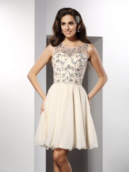 A-Line/Princess Bateau Beading Sleeveless Short/Mini Chiffon Cocktail Dresses