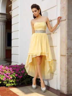 A-Line/Princess Strapless Beading Sleeveless Asymmetrical Chiffon Cocktail Dresses
