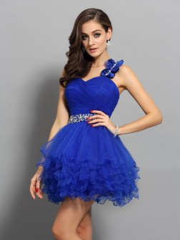 A-Line/Princess One-Shoulder Beading Sleeveless Short/Mini Organza Cocktail Dresses