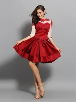 A-Line/Princess High Neck Applique 1/2 Sleeves Short/Mini Satin Cocktail Dresses