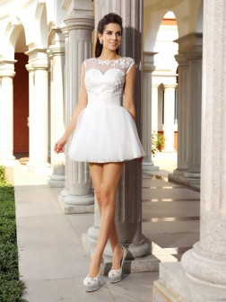 A-Line/Princess Scoop Beading Sleeveless Short/Mini Satin Cocktail Dresses