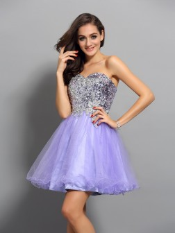 A-Line/Princess Sweetheart Beading Applique Sleeveless Short/Mini Net Cocktail Dresses