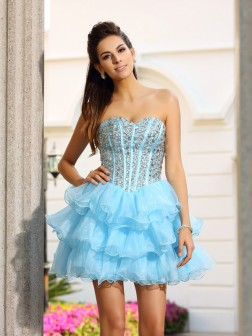 A-Line/Princess Sweetheart Beading Sleeveless Short/Mini Organza Cocktail Dresses
