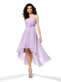 A-Line/Princess Sweetheart Hand-Made Flower Sleeveless Asymmetrical Chiffon Cocktail Dresses