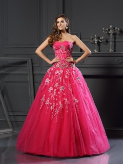 Ball Gown Sweetheart Applique Sleeveless Floor-Length Net Dresses