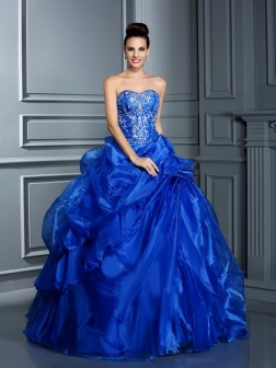 Ball Gown Sweetheart Applique Sleeveless Floor-Length Satin Dresses