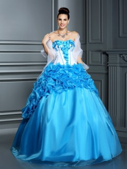 Ball Gown Sweetheart Ruffles Sleeveless Floor-Length Satin Dresses