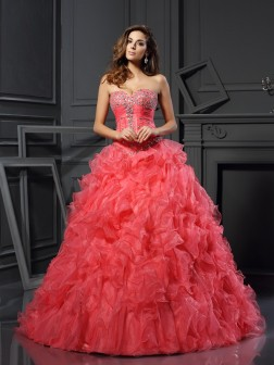 Ball Gown Sweetheart Ruffles Sleeveless Floor-Length Organza Dresses