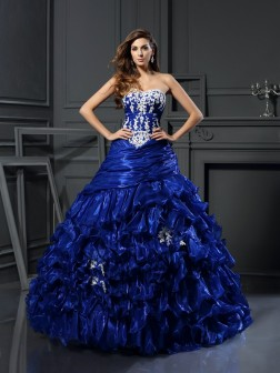 Ball Gown Sweetheart Beading Applique Sleeveless Floor-Length Tulle Dresses
