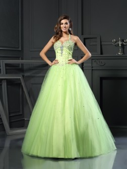 Ball Gown Halter Beading Sleeveless Floor-Length Satin Dresses