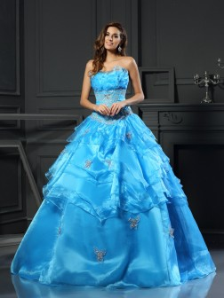Ball Gown Sweetheart Beading Sleeveless Floor-Length Organza Dresses