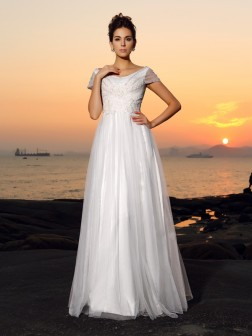 A-Line/Princess Off-the-Shoulder Beading Short Sleeves Floor-Length Tulle Wedding Dresses