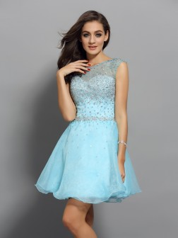 A-Line/Princess Scoop Beading Sleeveless Short/Mini Organza Cocktail Dresses