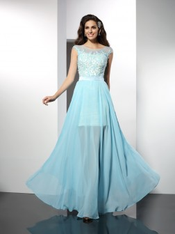 A-Line/Princess Bateau Applique Sleeveless Floor-Length Chiffon Dresses