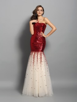 Trumpet/Mermaid One-Shoulder Sleeveless Floor-Length Sequins Dresses