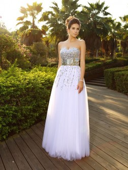 A-Line/Princess Sweetheart Beading Sleeveless Floor-Length Organza Dresses