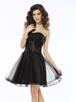 A-Line/Princess Sweetheart Applique Sleeveless Short/Mini Satin Cocktail Dresses