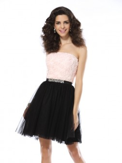 A-Line/Princess Strapless Sleeveless Short/Mini Tulle Cocktail Dresses