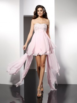 A-Line/Princess Sweetheart Applique Sleeveless Asymmetrical Chiffon Cocktail Dresses