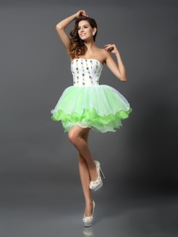 A-Line/Princess Strapless Ruffles Sleeveless Short/Mini Organza Cocktail Dresses