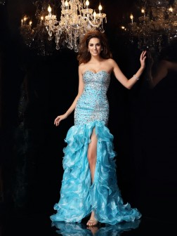 Trumpet/Mermaid Sweetheart Beading Sleeveless Asymmetrical Organza Dresses
