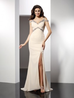 Trumpet/Mermaid Sweetheart Sleeveless Sweep/Brush Train Chiffon Dresses