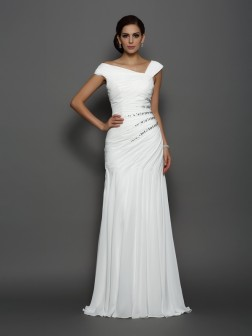 Trumpet/Mermaid Beading Sleeveless Sweep/Brush Train Chiffon Dresses