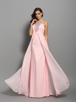 Sheath/Column High Neck Beading Sleeveless Floor-Length Chiffon Dresses