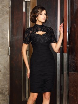 Sheath/Column High Neck Beading Short Sleeves Knee-Length Chiffon Mother of the Bride Dresses